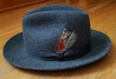 34cd5f3d48453 Vintage PENDLETON 100% Virgin Wool Fedora Hat SIZE SMALL Gray MADE IN USA