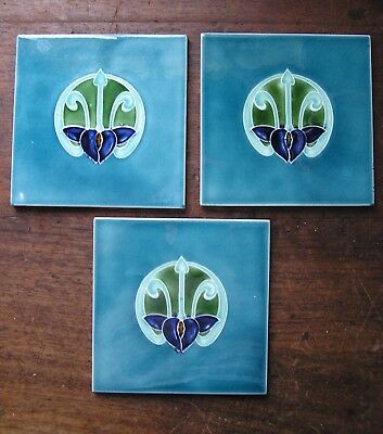 Set of 3 ANTQUE ART NOUVEAU TILES
