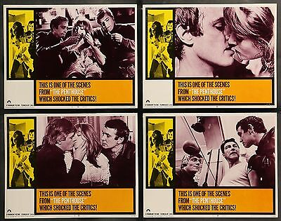 THE PENTHOUSE 1967 SUZY KENDALL TERENCE HILL Set of 8 ORIGINAL LOBBY CARDS
