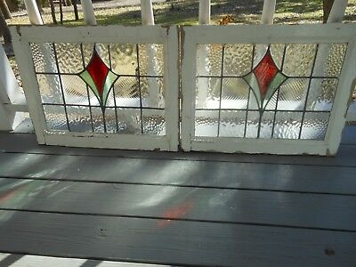 MA16 239 Lovely Older Leaded Stained Glass Window From England   Two Available