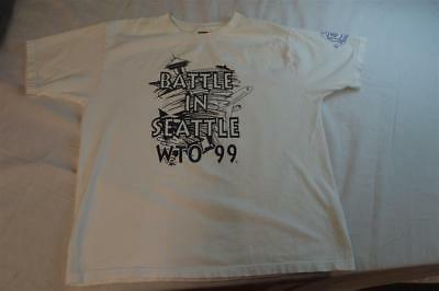 Vintage 1999 WTO Battle in Seattle Space Needle Police Guild Shirt 937053
