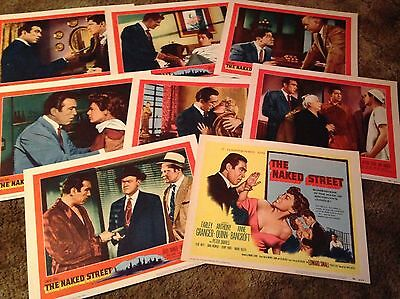 THE NAKED STREET Farley Granger Anthony Quinn  US 8 LOBBY CARDS SET 1955
