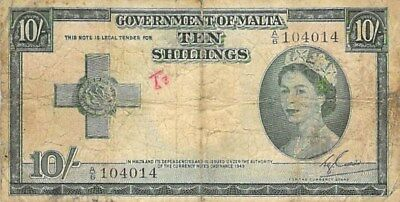 GOVERNMENT OF MALTA 10 SHILLINGS NOTE 1954 (FEW HOLES) P-24a