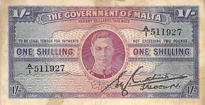 Government Of Malta 1 Shilling Note 1943 George Vi P-16