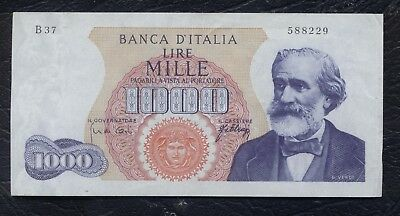 Italy Italia Paper Money old note Uncirculated 1962 1966 L.1000 lire G Verdi