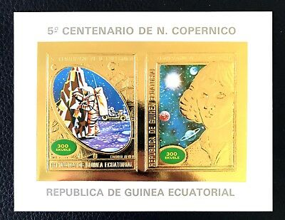 1 Guinea Equatorial Gold Sheet Imperforated With Space And Copernic