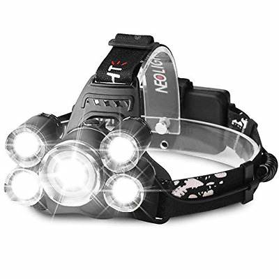 Super Bright Zoomable LED Head Torch, USB Rechargeable Waterproof Headlamp Focus