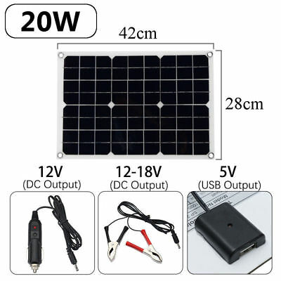 Portable 20W 12V/5V USB DC Solar Panel Outdoor Camping Energy Battery Charger