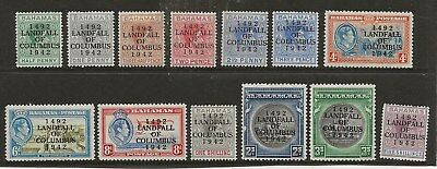 BAHAMAS  SG 162/74a  1942 GVI COLUMBUS SET TO 5/-  MOUNTED MINT  MAINLY FINE
