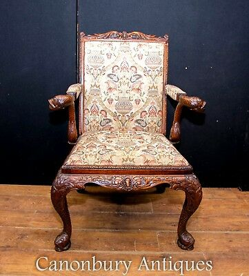 Chippendale Arm Chair - Hand Carved Mahogany Seat Throne