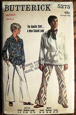 "Vintage Butterick Boy's ""Apache Shirt"" and Belt Pattern Sz Small Chest 23""-24"""
