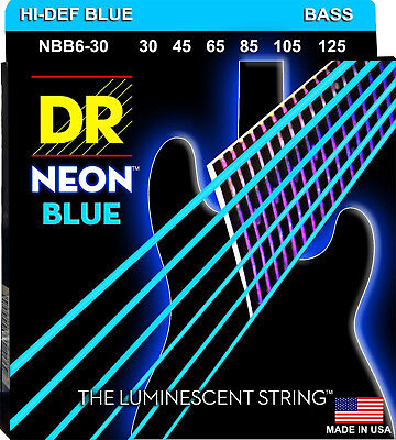 DR NBB6-30 6 string Hi-Def Neon Blue Coated Bass Guitar Strings 30-125 MED