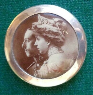 Antique Royal Commemorative Solid Silver Pill Box King Alfonso XIII Queen Spain