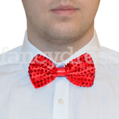 45fc6ac326ec Red Sequin Satin Bow Tie Dickie Magic Show Valentine Xmas Dance Fancy Dress  NEW