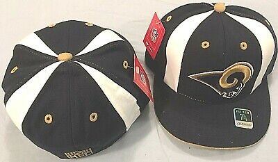 low cost 371e5 7f823 Nfl Los Angeles Rams Flat Brim Fitted Navy White Gold Team Logo Nfl Cap