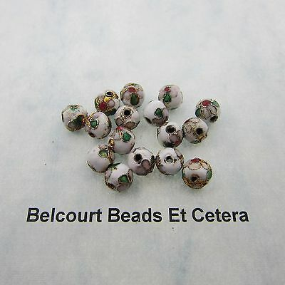 100 - White 8mm Round Cloisonne Beads - Pink Design on Gold Bead Floral Pattern