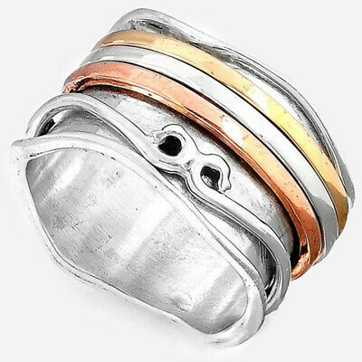 Spinner Sterling Silver Ring 925 Solid Two Tone Handmade Wide Band Spirals Size