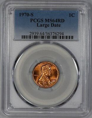 1970 S Lincoln Memorial Cent Penny Pcgs Cert Ms 64 Rd Red Large Date (294)