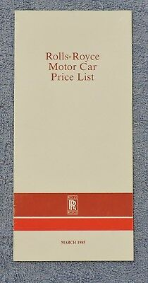 1985 Rolls Royce Price List In British Pounds / Includes Optional Equipment.
