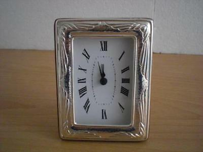 SOLID STERLING SILVER TABLE ALARM CLOCK 6×9 *1022 GB new