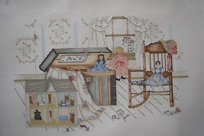 Completed Finished Cross Stitch, Paula Vaughan , A Little Girl's Fancy
