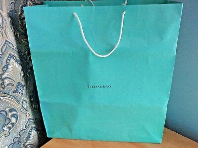 Extra-Large TIFFANY & CO Blue Gift / Shopping BAG Braided White Cord Handles