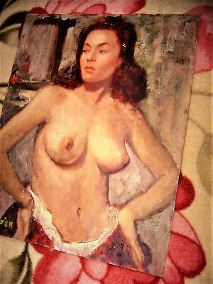 Antique Old Vintage Mid 20Th C Semi Nude Oil Painting On Board Signed Arman!!!!!