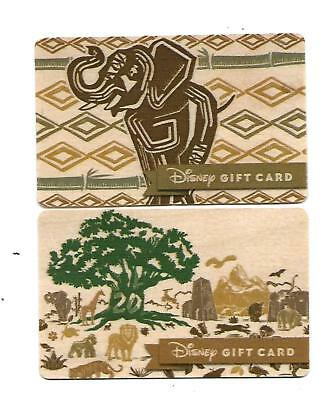 2 Disney Collectible Gift Card  Mint  Wild Kingdom  20th Anniversary  Wood Cards