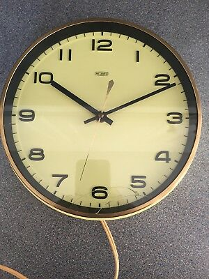 Vintage 1960/70's METAMEC Yellow Faced Electric Wall Clock, Spares or Repair