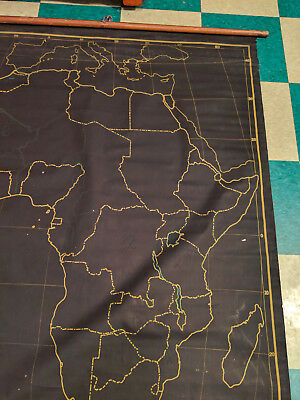 AJ Nystrom Royal Series Military Classroom School Africa Rare Pulldown Map LARGE