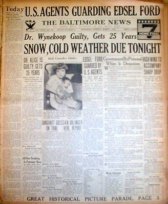 1934 newspaper Outlaw JOHN DILLINGER escapes jail &is seen in BALTIMORE Maryland