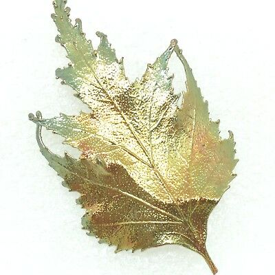 Vintage REAL LEAF BROOCH Pin Metal Dipped Copper Costume Jewelry