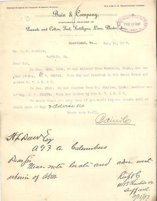 1907 Letter. Bain & Company, Peanut and Cotton Dealer,Courtland, VA