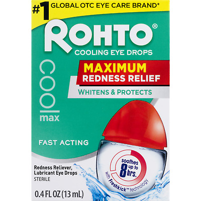 New Rohto Maximum Redness Relief Cooling Eye Drops 0.4 Fl. Oz.