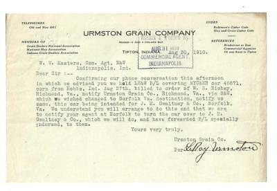1910 Letter, Urmston Grain Co,, Tipton, Indiana