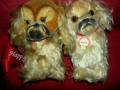 PAIR large vintage Steiff, button-in-ear & tag, PEKY, Pekinese dogs swivel neck