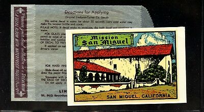 World Poster Stamps 1911 USA Mission San Miguel California Window Sticker+cover