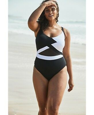 d4125aaee6d Anne Cole Plus Size Hot Mesh Black White One-Piece Swimsuit 18W NWT NEW $108
