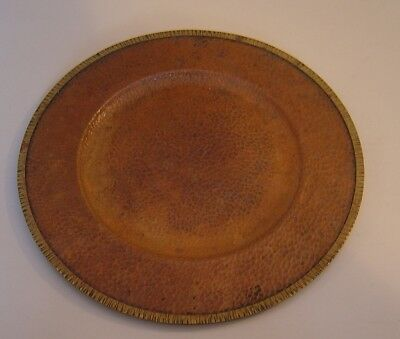 """Antique Arts & Crafts 14"""" Hammered Copper Tray Plate Marked LE"""