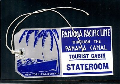 USA Poster Stamp Steamship Luggage Label Tag Panama Pacific Line