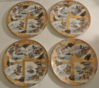 SET RARE Antique Meiji Japanese SIGNED PLATES Paneled Geisha Landscape Kutani ?