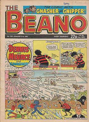 THE BEANO UK COMIC January  21 1989 No. 2427 Original Vintage Birthday Gift