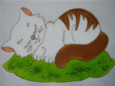 White Cat Animal Nursery Window Paint Picture Decoration Cling