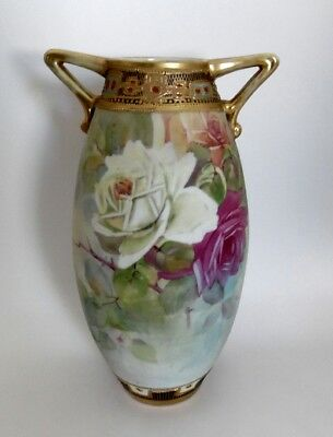 """Antique Signed Nippon Hand Painted Roses 2 Handle Gilt 8.5"""" Tall Vase Gold Bead"""
