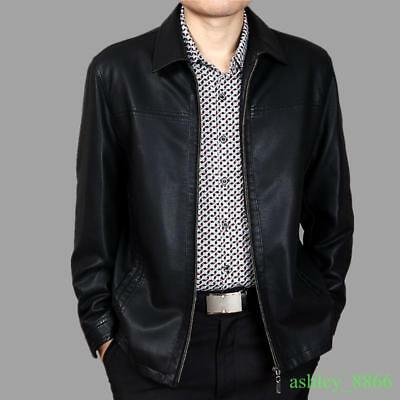 Mens Faux Sheep Leather Thick Jacket Lapel Leisure Trench Zip Coat 2019 Outwear