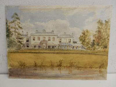 old PAINTING water colour miniature COUNTRY HOUSE