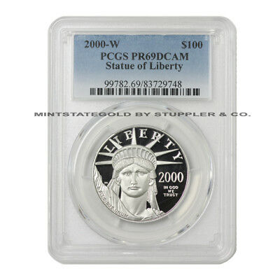 2000-W $100 Platinum Eagle PCGS PR69DCAM Deep Cameo 1oz Proof Coin West Point