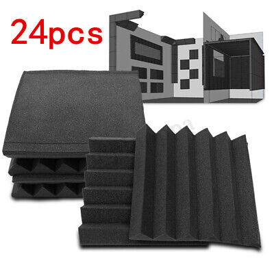 24 Pack Acoustic Foam Wall Tiles Panel Studio Soundproofing 12'' X 12'' X 2''