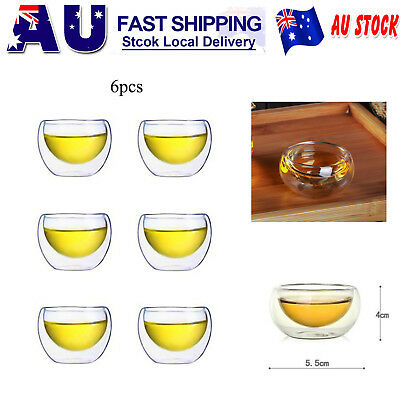 Pack of 6 Japanese Style Double Wall Small Glass Tea Cup Bar Shots Wine Tea Cup