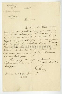 Francois Guizot - French Statesman - Autographed 1844 Annotated Letter (ALS)